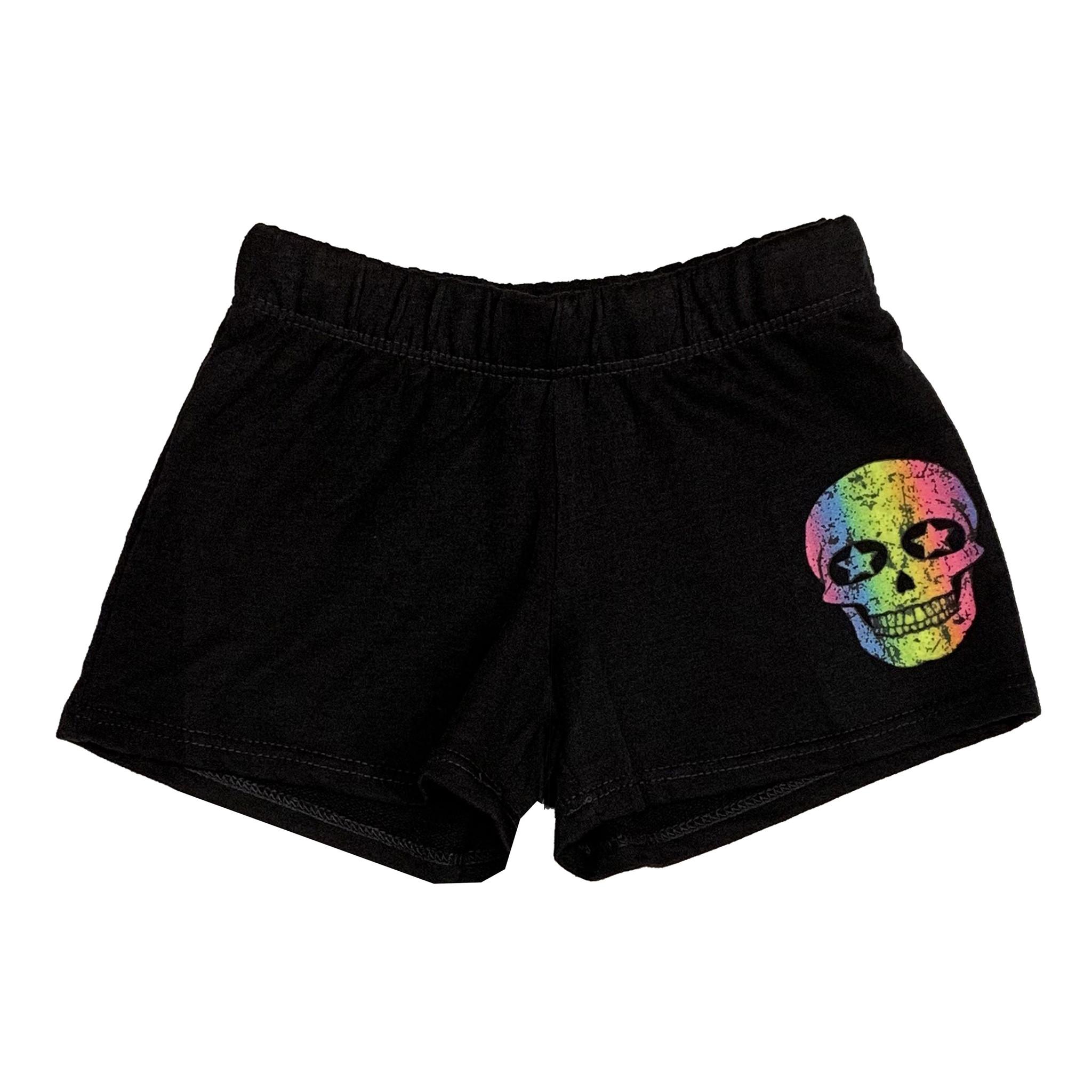 Firehouse Black Shorts with Rainbow Skull