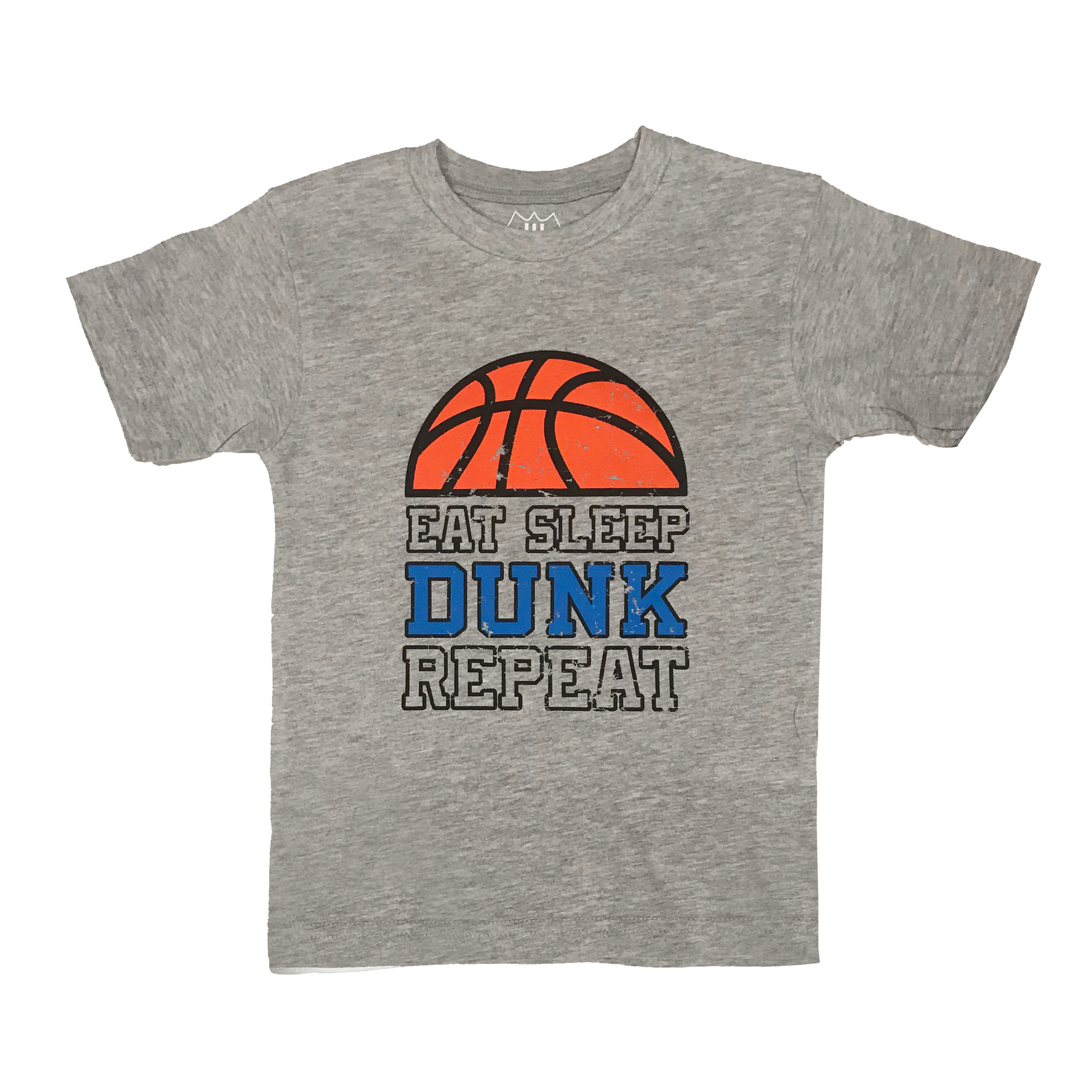 Wes & Willy Grey Eat Sleep Dunk Repeat Tee