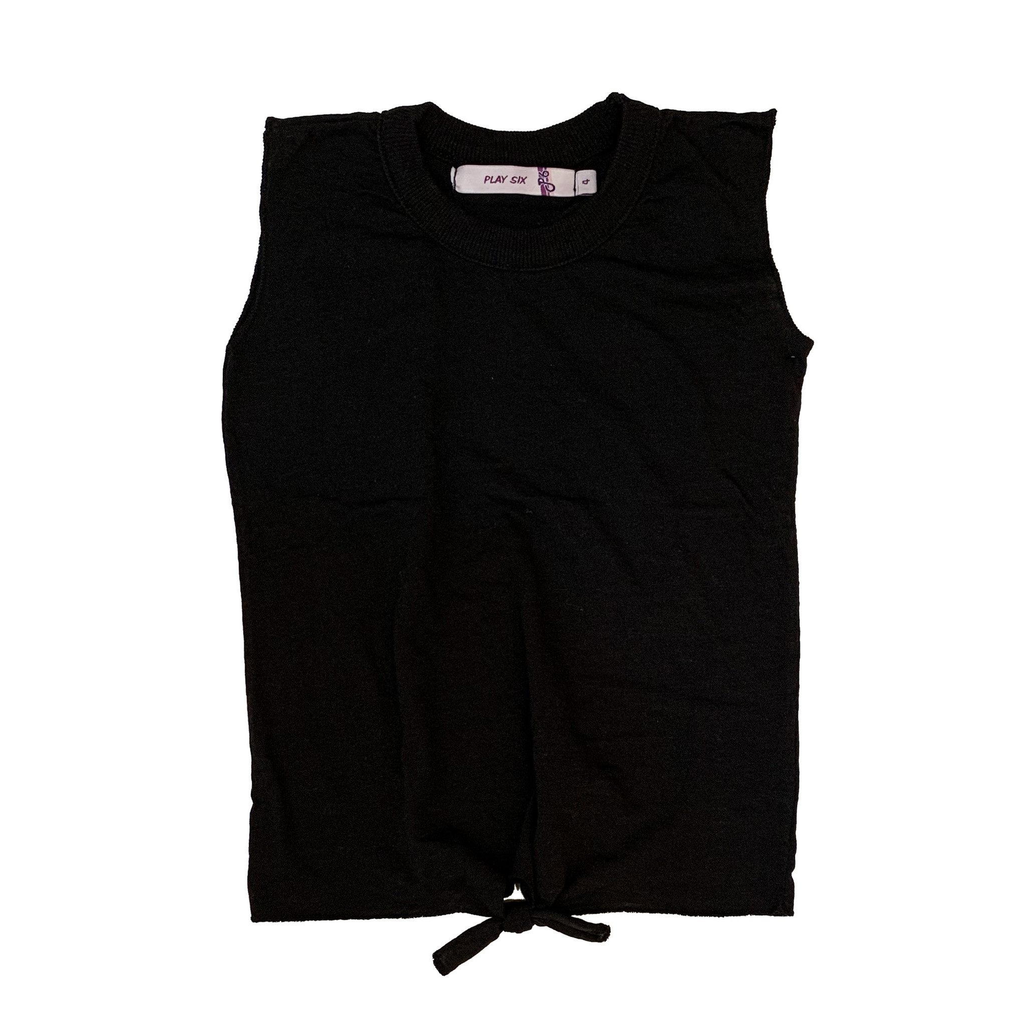 Play Six Solid Black Tie Front Tank