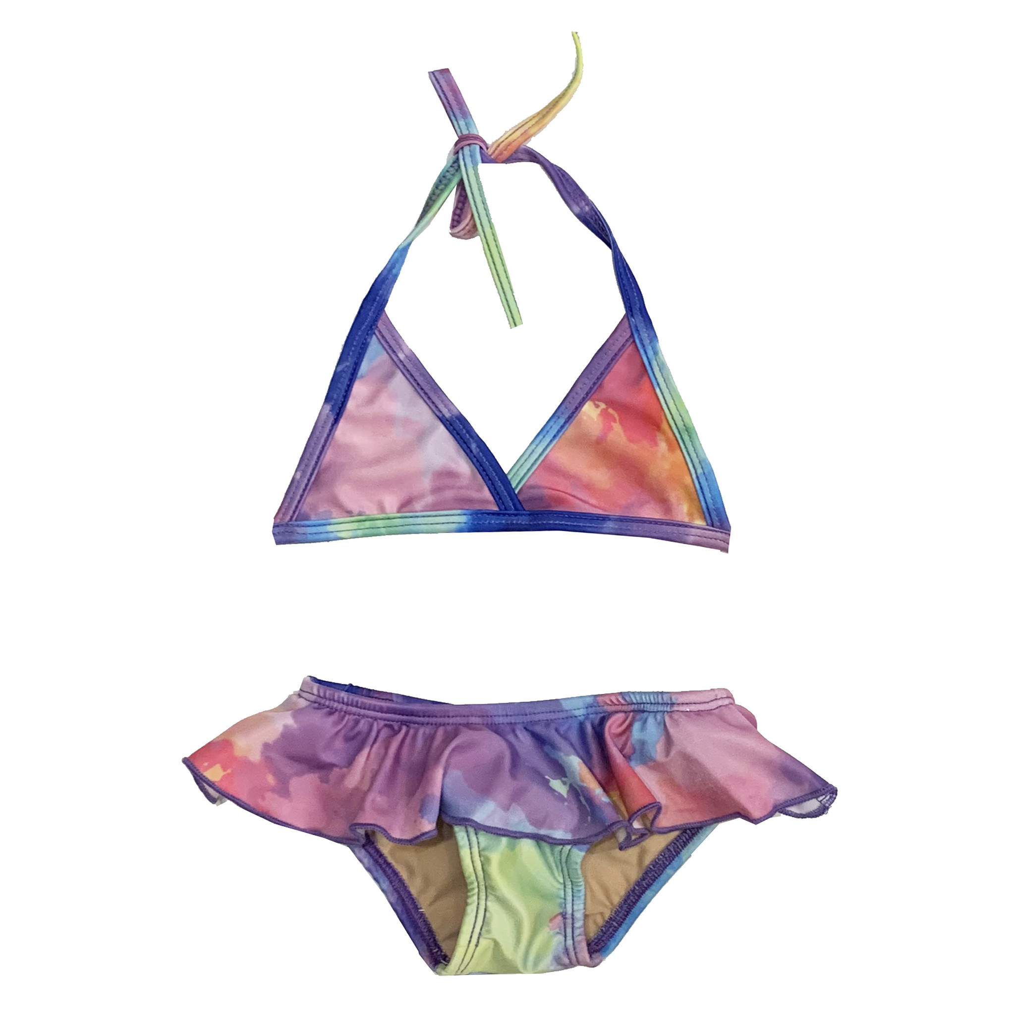 Cruz Ruffle Bright Watercolor Infant Bikini
