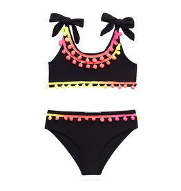 Stella Cove Black Tie Bikini with Neon Pom Poms
