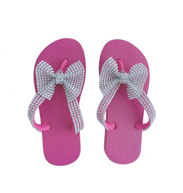 Planet Sea Pink Crystal Bow Flip Flops