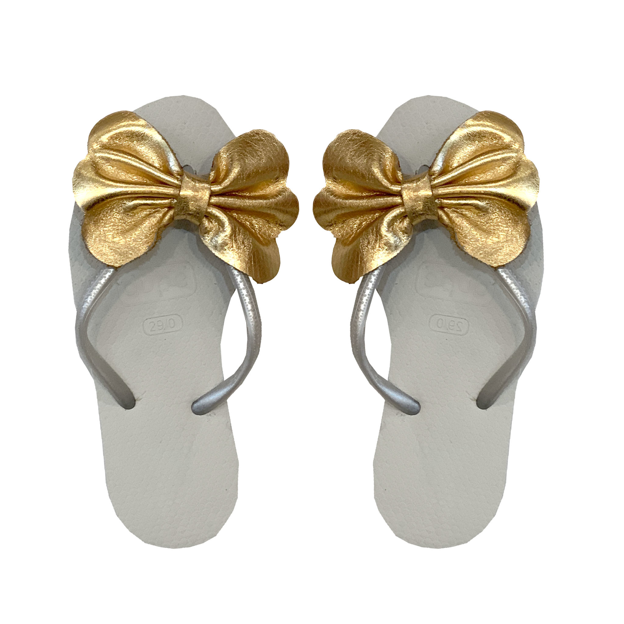 Planet Sea Gold Leather Bow Flip Flops