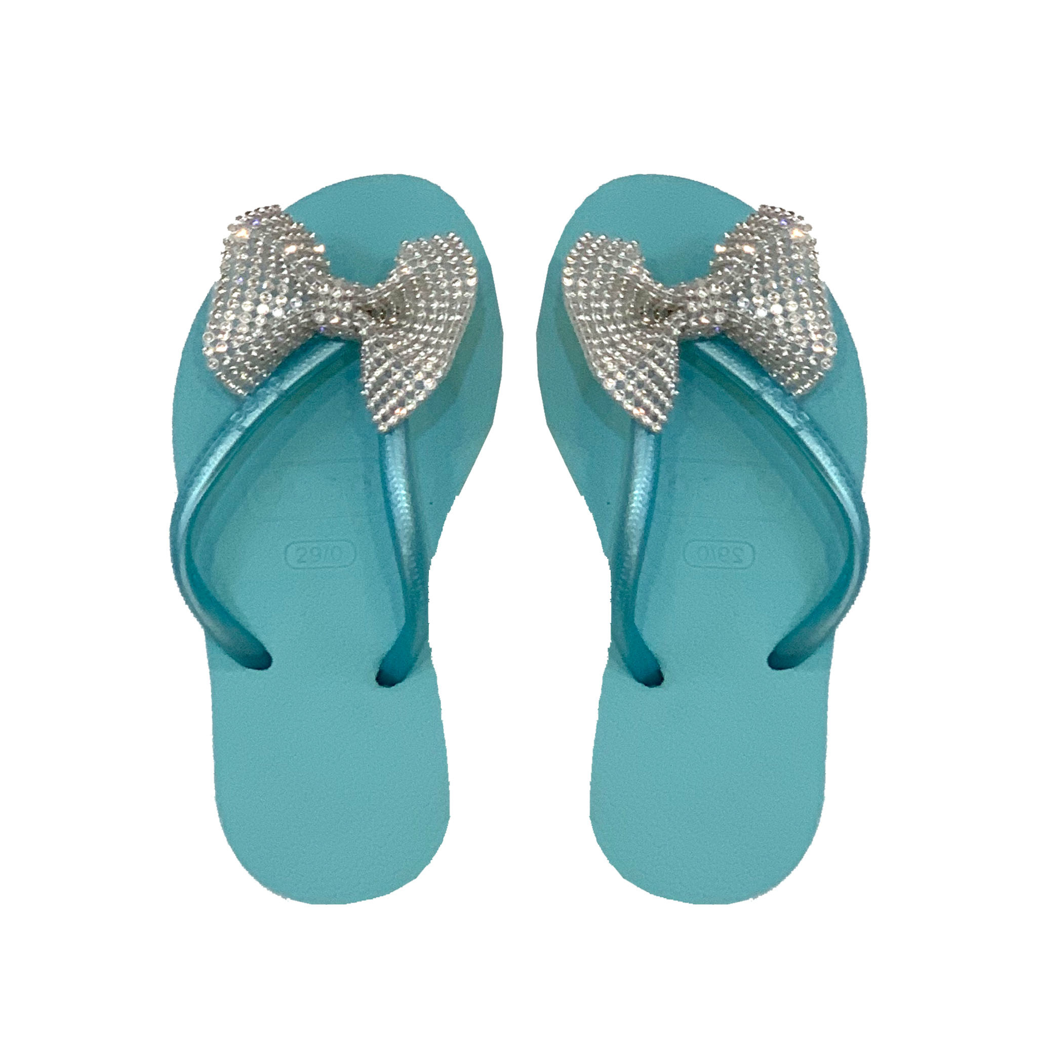 Planet Sea Aqua Crystal Bow Flip Flops
