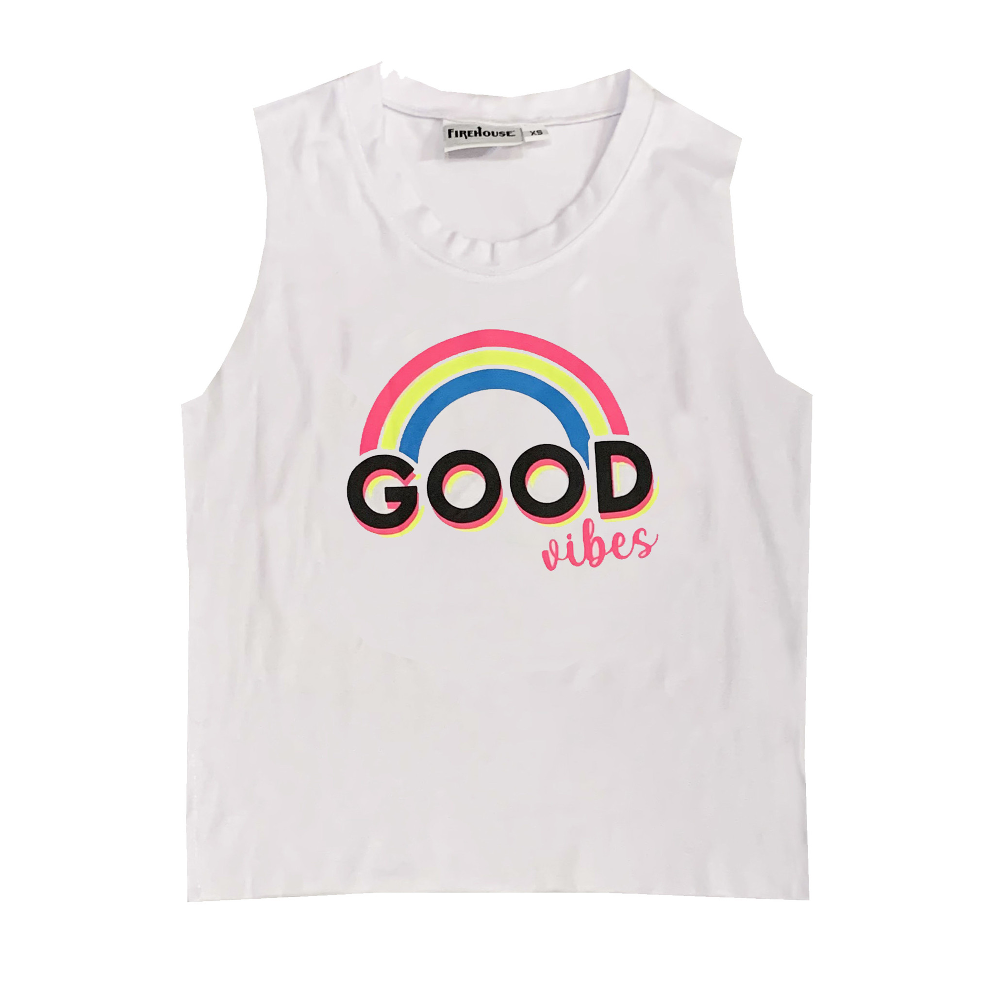 Firehouse White Good Vibes Rainbow Tank