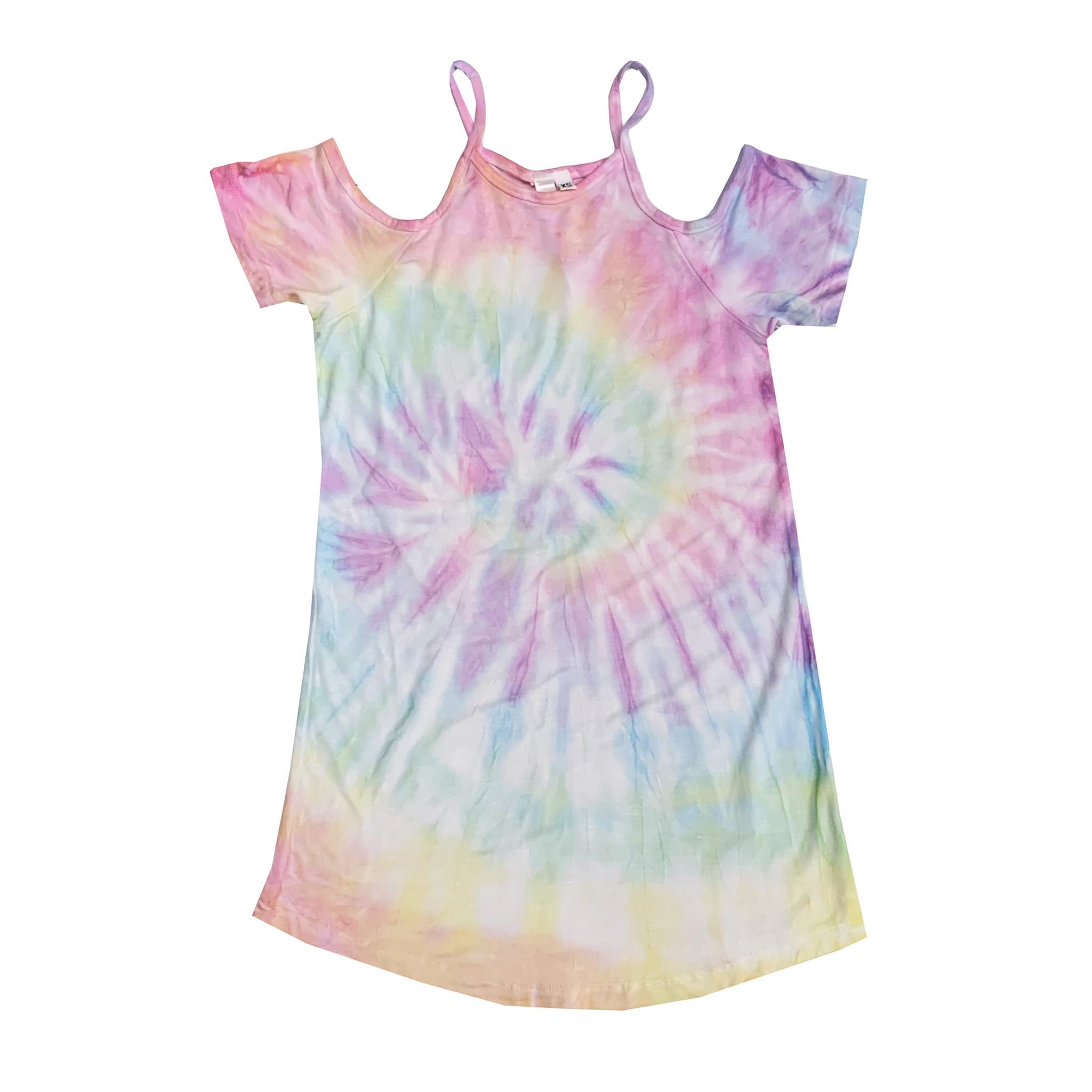 Malibu Sugar Tie Dye Cold Shoulder Dress