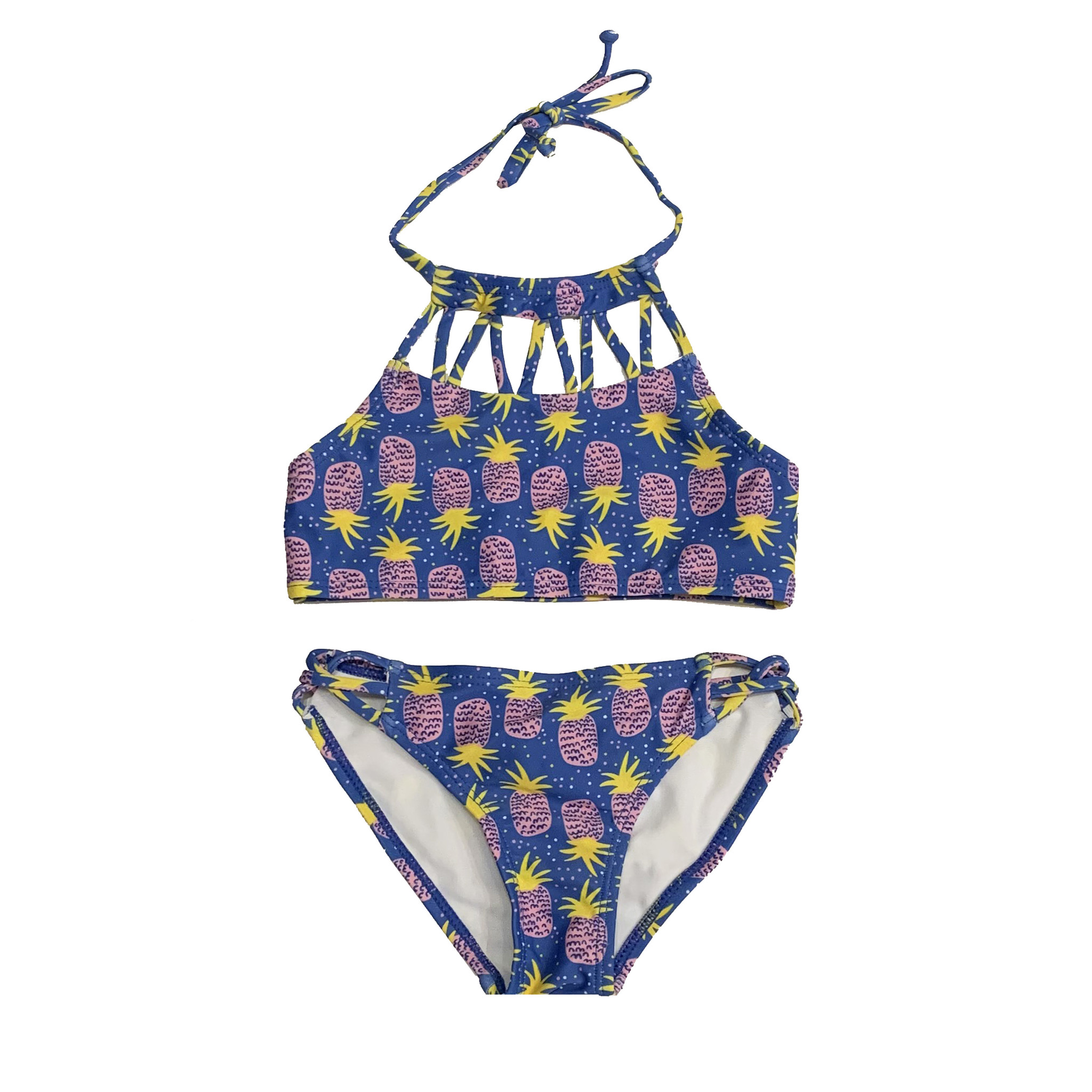 Coral Reef Sunny Pinapples High Neck Bikini