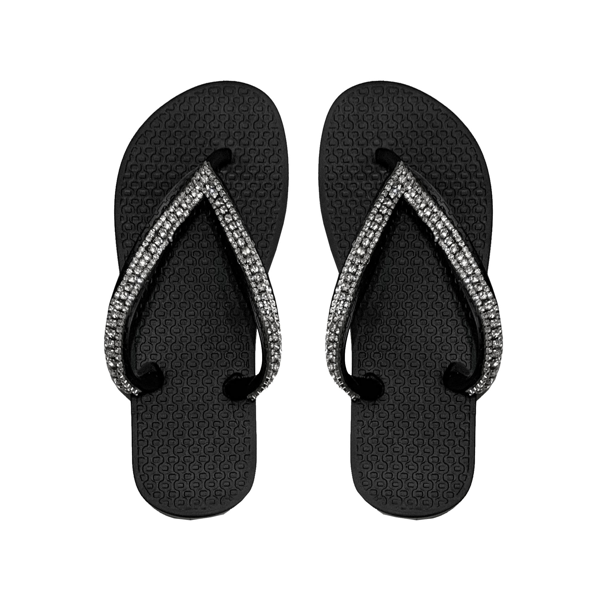 Planet Sea Black Crystal Strap Flip Flops