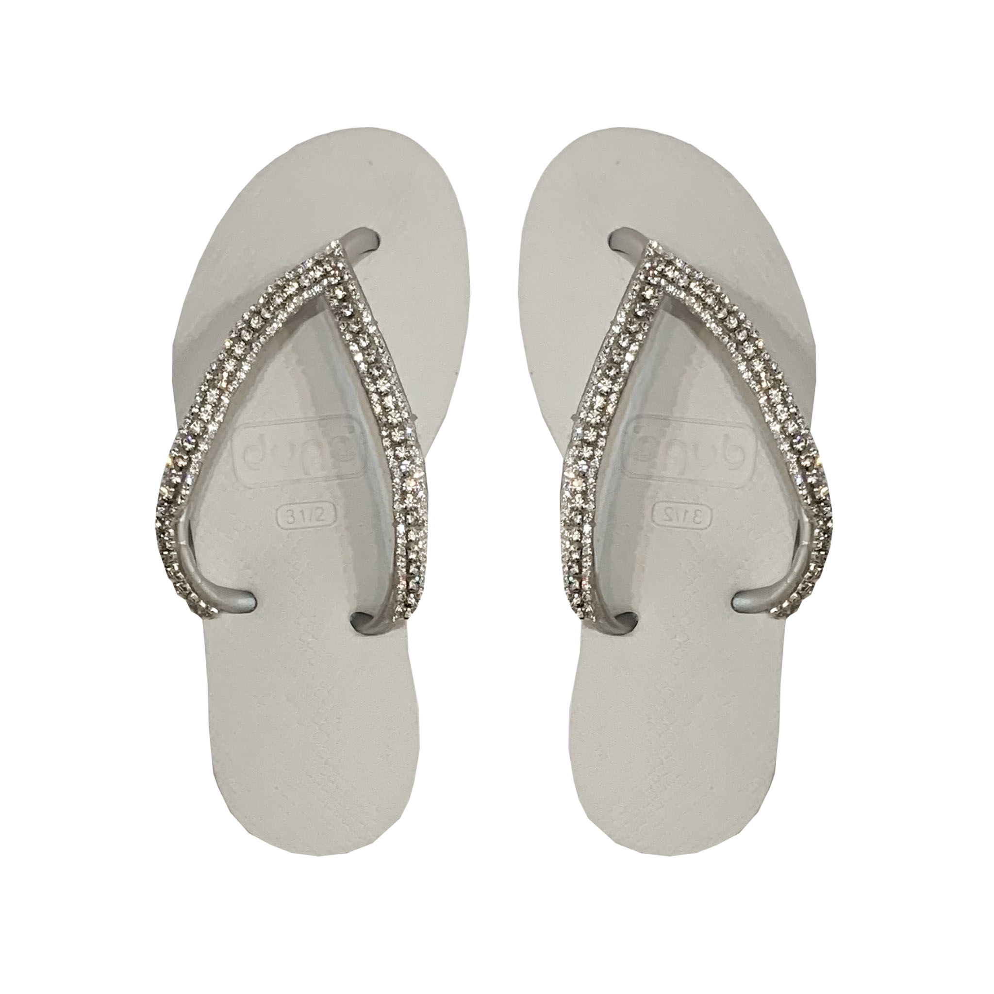 Planet Sea White Crystal Strap Flip Flops