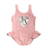 Planet Sea Pink Ruffle Infant 1pc Swimsuit with Silver Heart