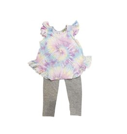 Little Mass Infant Pastel Tie Dye Ruffle Tank Legging Set