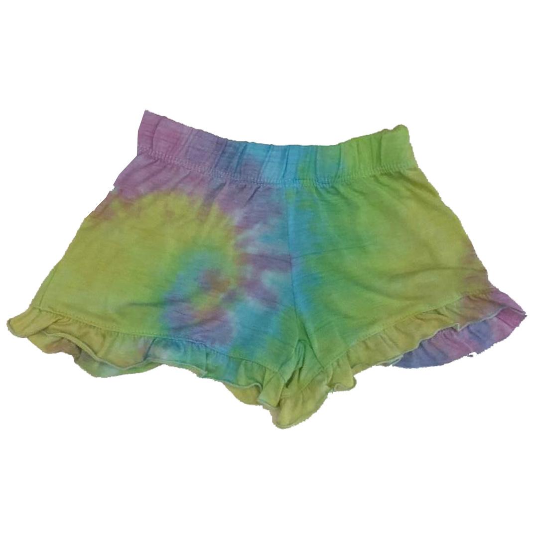 Firehouse Pastel Tie Dye Swirl Ruffle Short