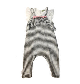 Little Mass Grey/White Striped Ruffle Romper & Shirt Set