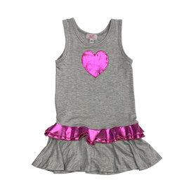 Sofi Grey & Pink Ruffle Tank Dress