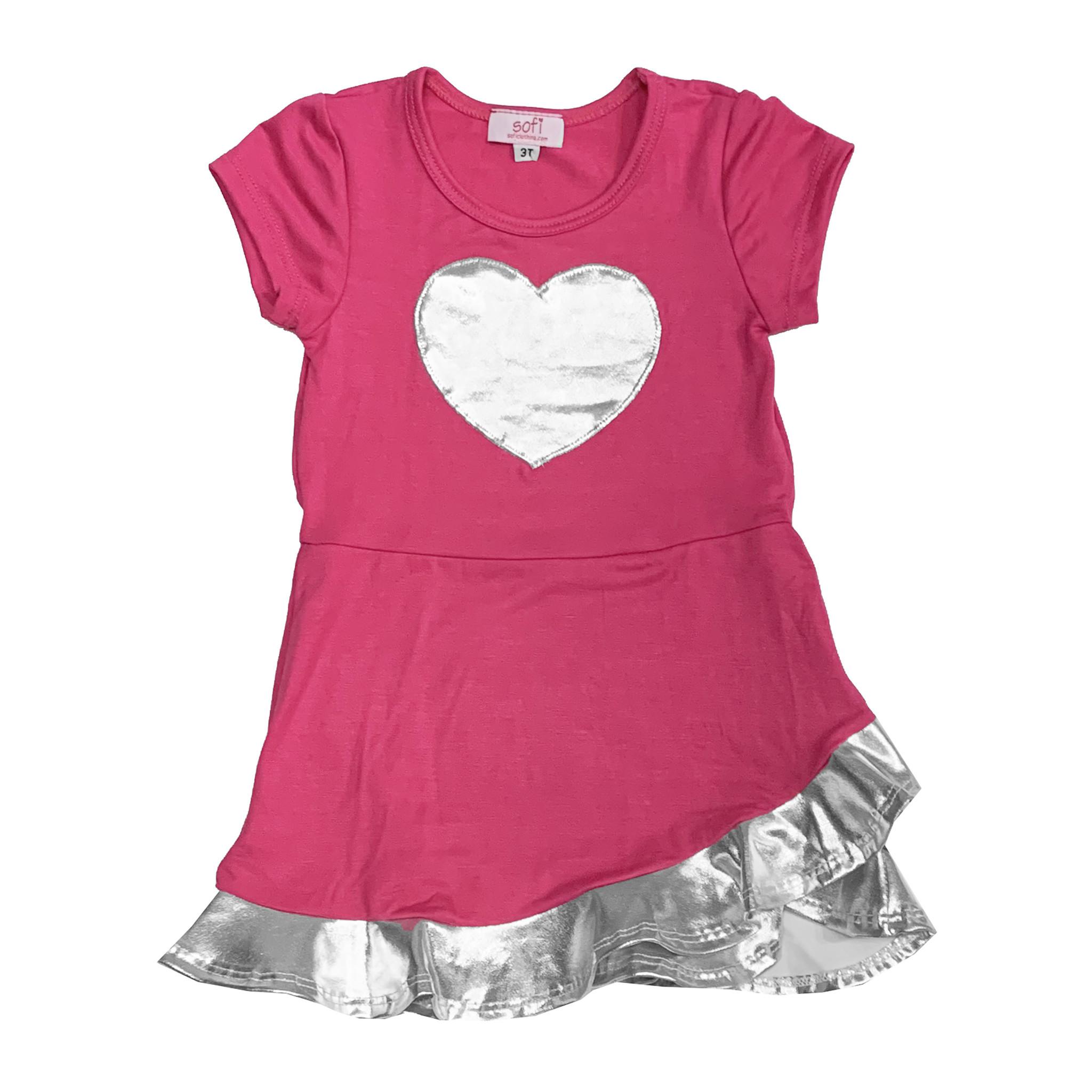 Sofi Short Sleeve Pink & Silver Ruffle Dress