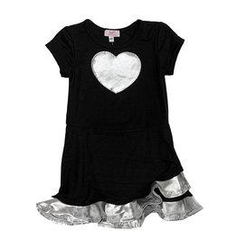 Sofi Short Sleeve Black & Silver Ruffle Dress