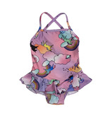 Social Butterfly Unicorn Ruffle 1 Pc Swimsuit