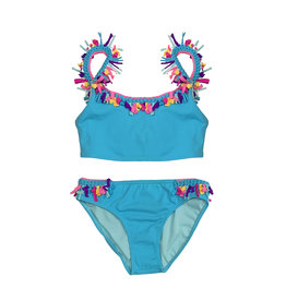 Little Peixoto Turquoise Fringe Trim Bikini