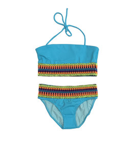 Little Peixoto Turquoise Rainbow Banded Bikini