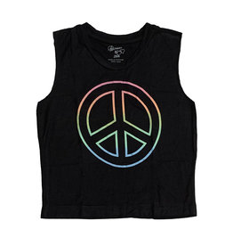 Flowers by Zoe Black Crop Tank with Pastel Peace