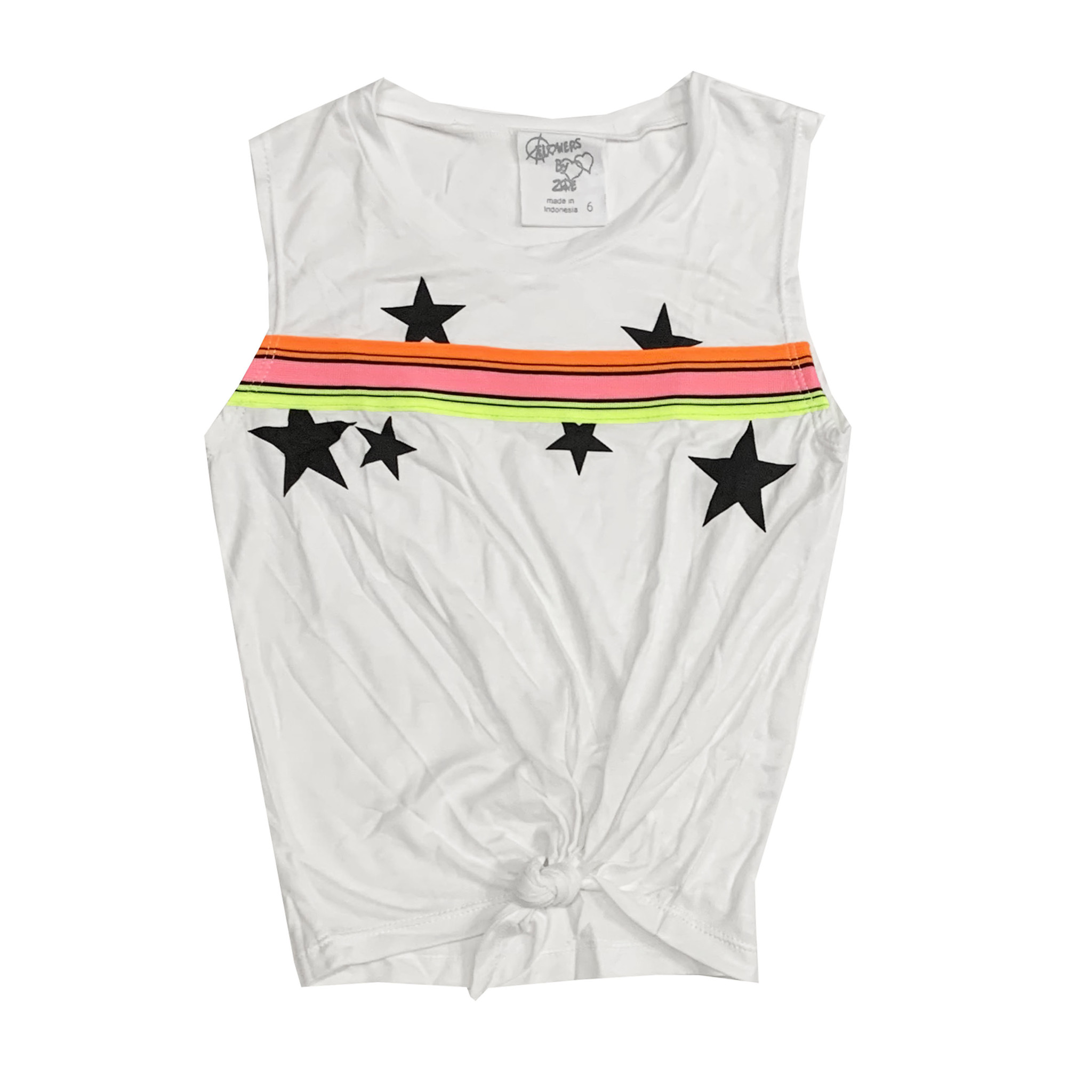 Flowers by Zoe White Neon Taping Knot Tank with Stars