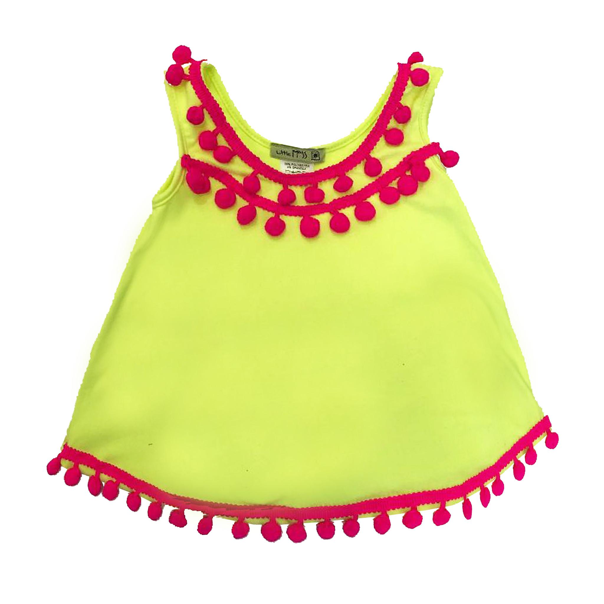 Little Mass Neon Yellow Pom Pom Swing Tank