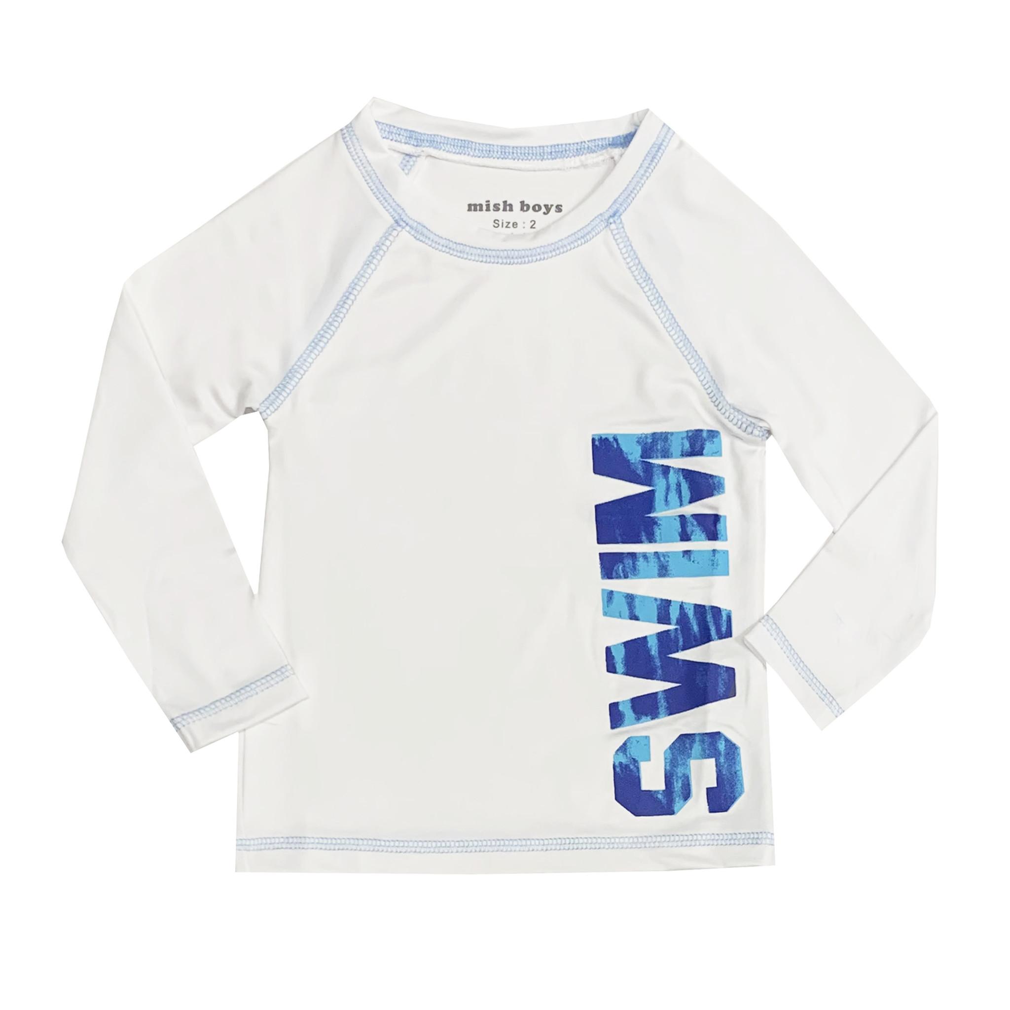 Mish Infant White & Blue Swim Rashguard