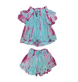 Vintage Havana Turq & Pink Tie Dye Off Shoulder Short Set