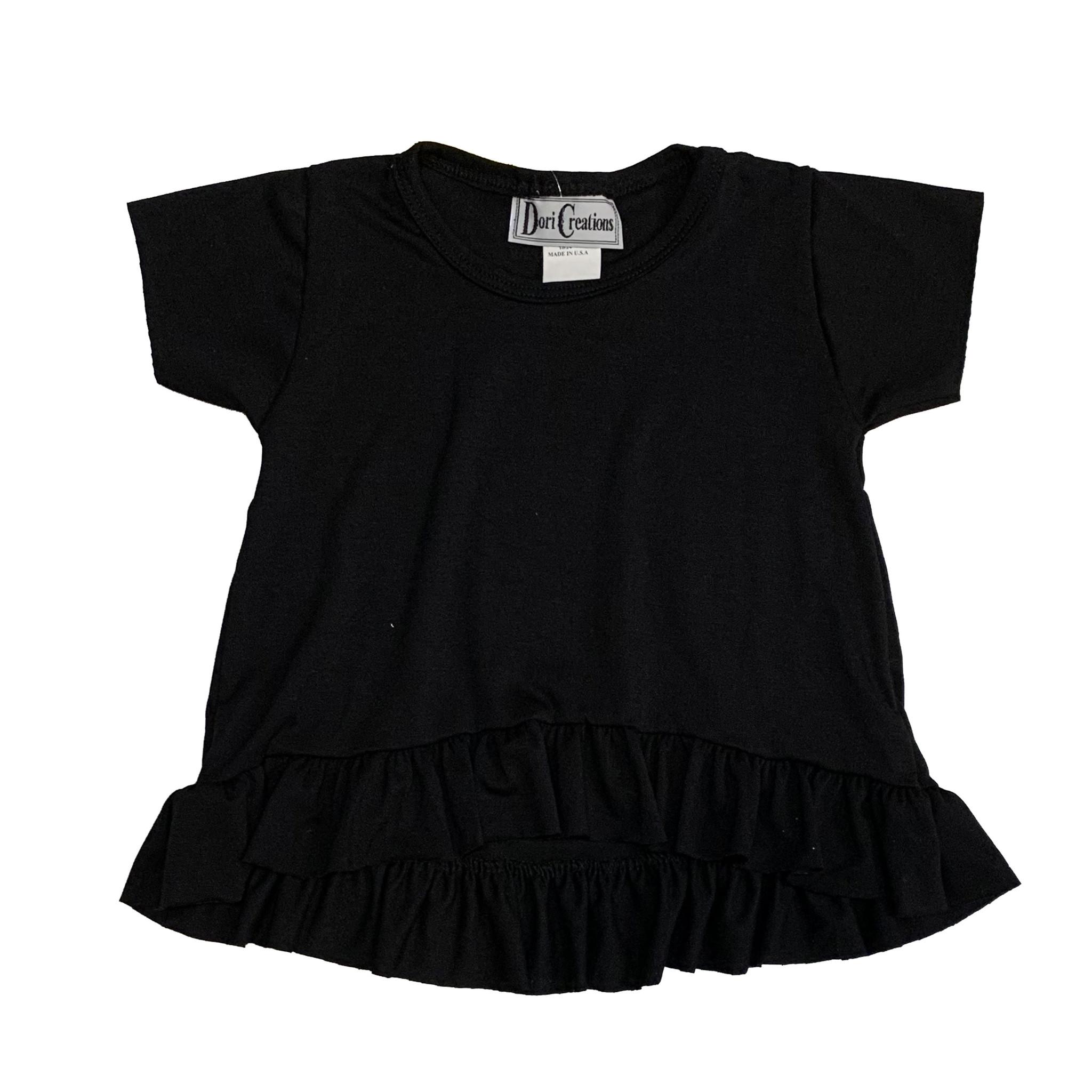 Dori Creations Black Ruffle Infant Tee