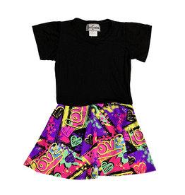 Dori Creations Purple Love Short Sleeve Dress