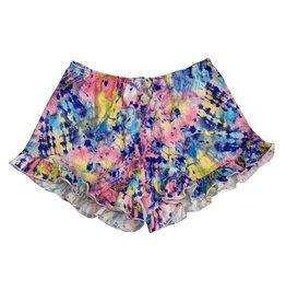 Dori Creations Splatter Dye Crop Ruffle Shorts