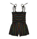 Little Mass Rainbow Stripe Smocked Romper