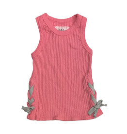 T2Love Pink Rib Crop Tank with Grey Side Ties