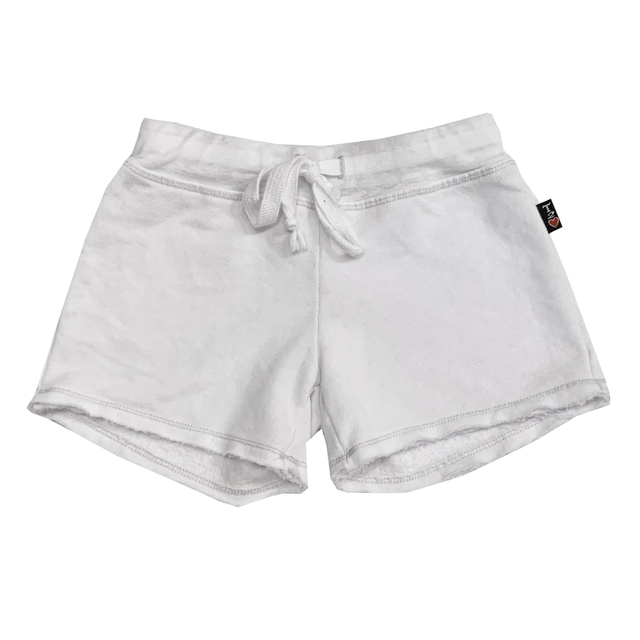 T2Love White Raw Sweat Shorts