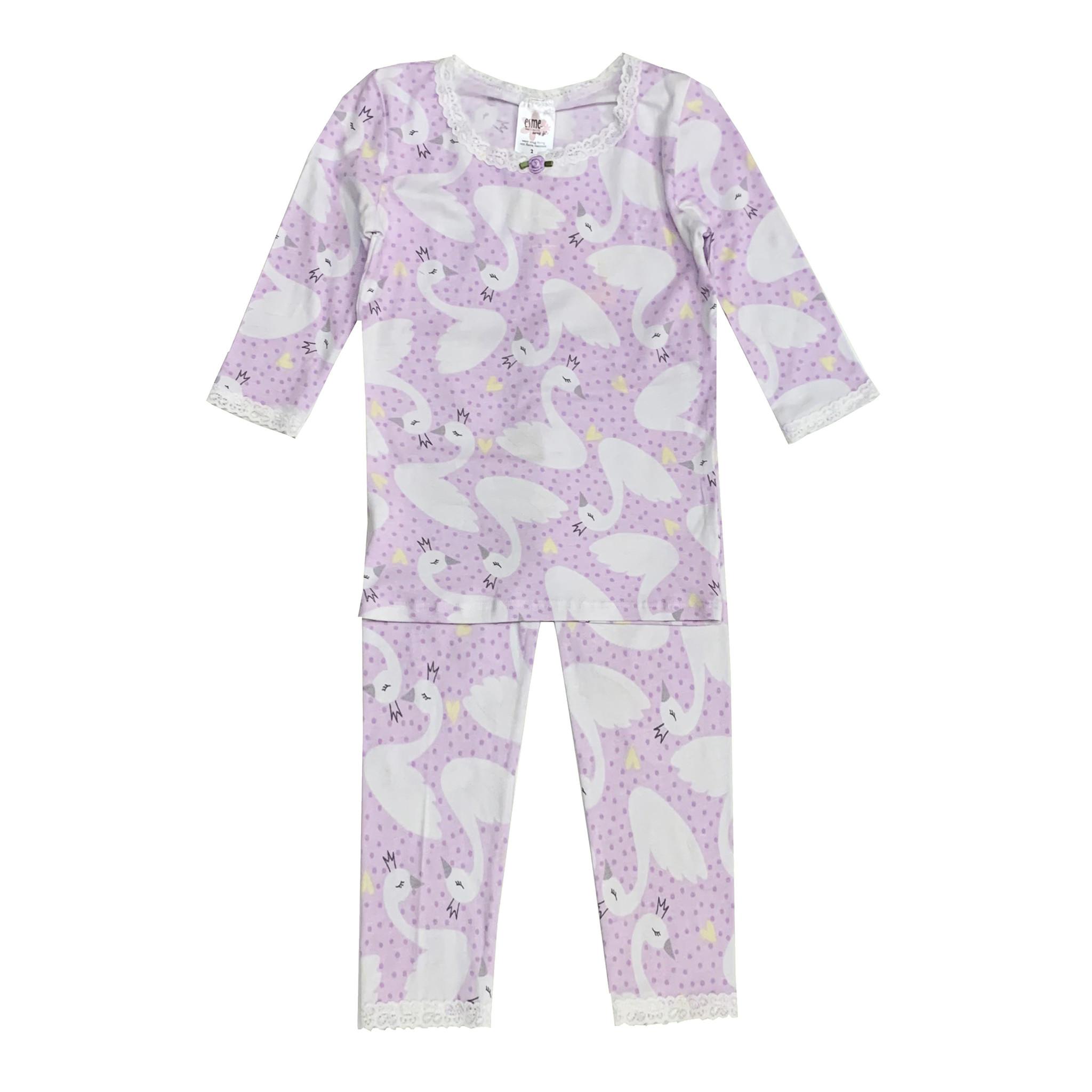 Esme Lavender Swans Infant Pajama Set
