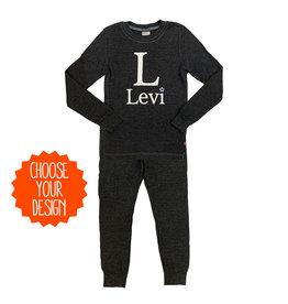Charcoal Boys Custom Thermal Pajamas