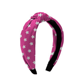 Pink & White Star Knot Headband