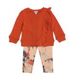 Splendid Orange Ruffle Sweatshirt with Tie Dye Leggings