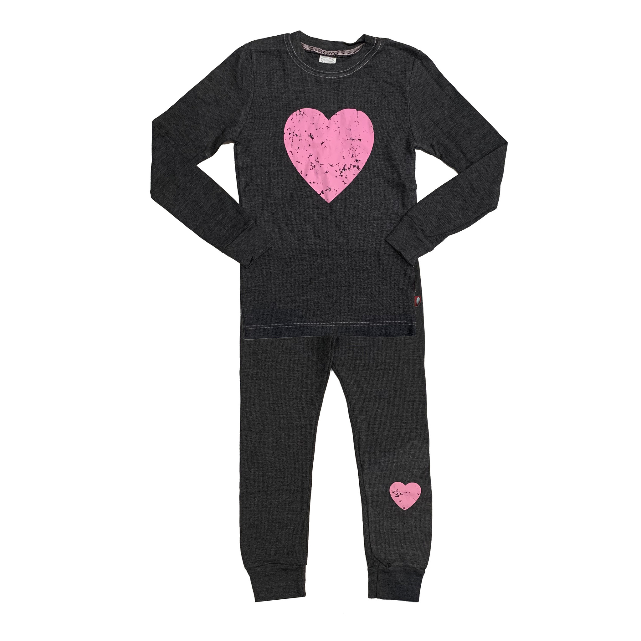 Charcoal Thermal Pajamas with Pink Heart
