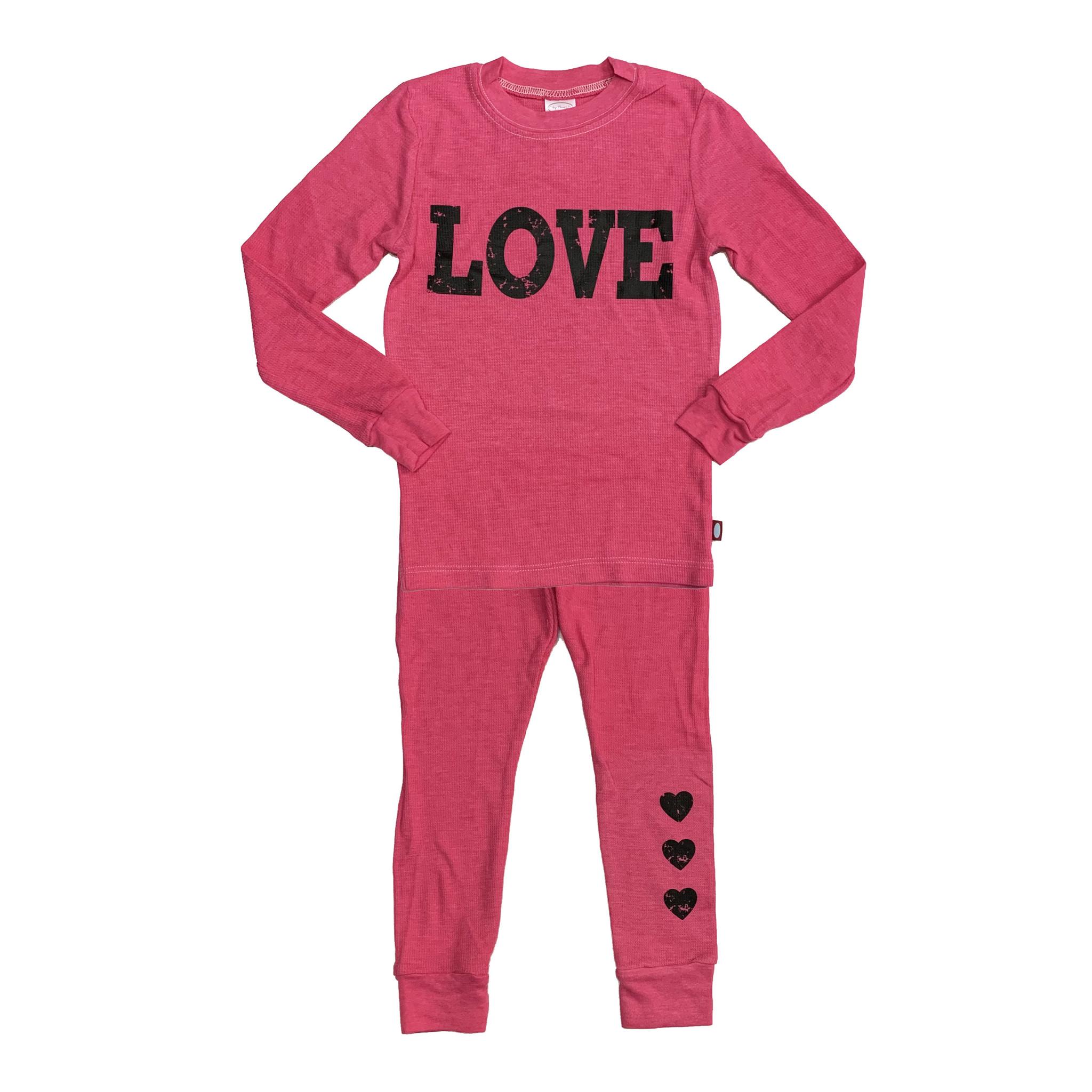 Hot Pink Love Thermal Pajamas