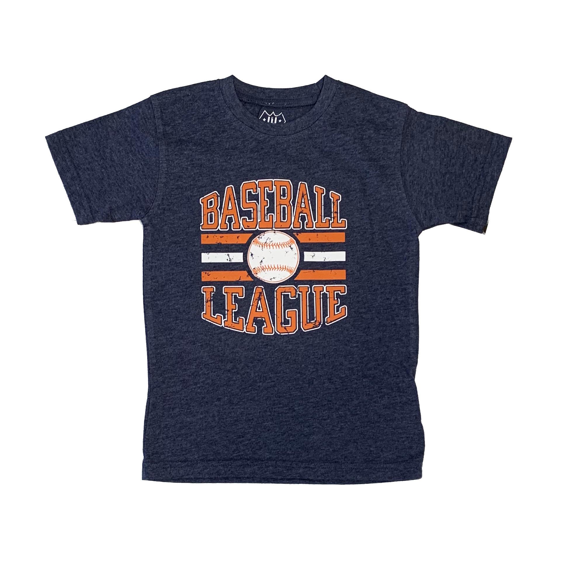 Wes & Willy Navy & Orange Baseball League Tee