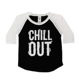 Chill Out Black & White Baseball Tee