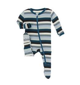 Kickee Pants Meteorology Stripe Zipper Footie