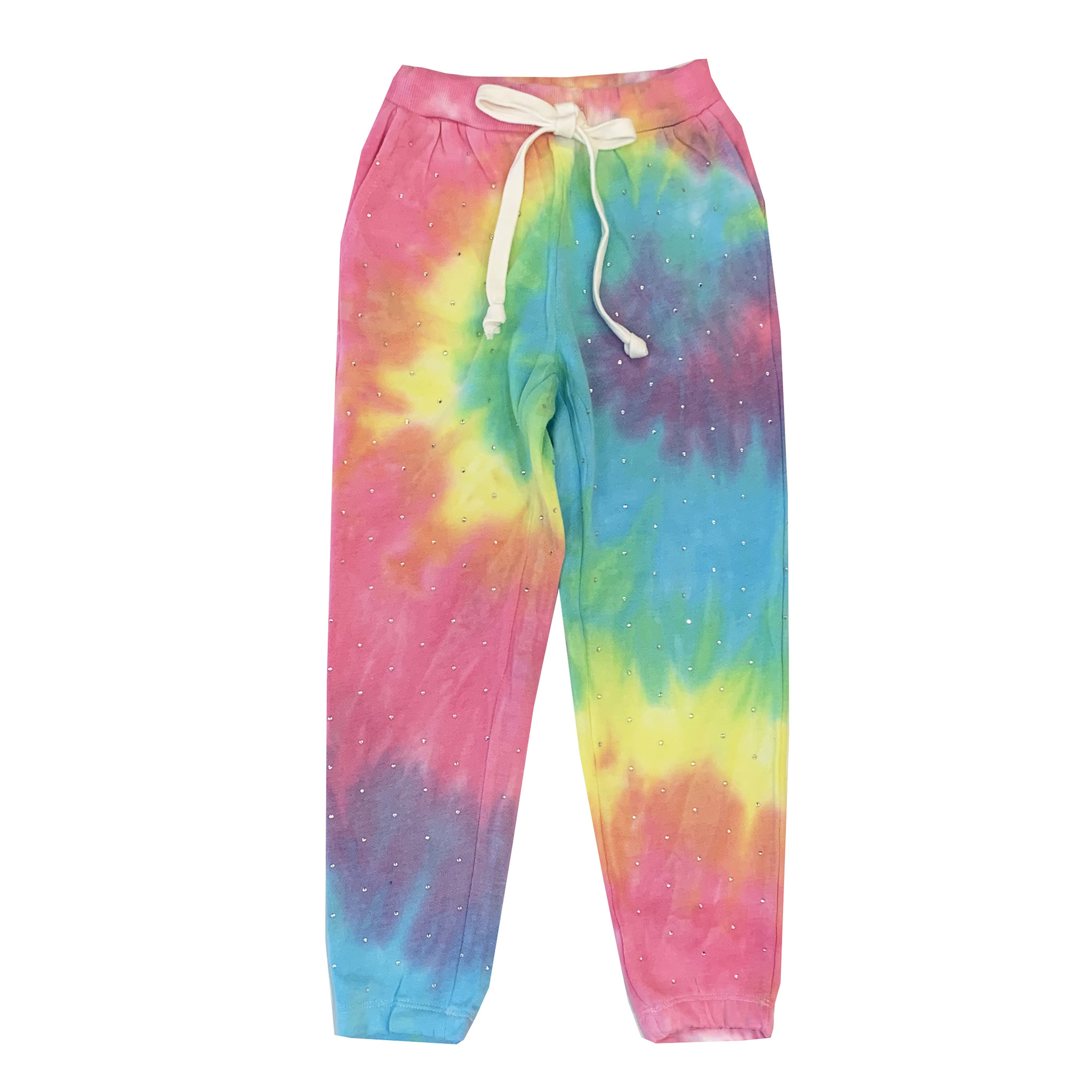 Katie J Bright Tie Dye Sweatpants with Rhinestones
