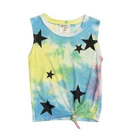 Flowers by Zoe Tie Dye Knot Tank with Black Glitter Stars