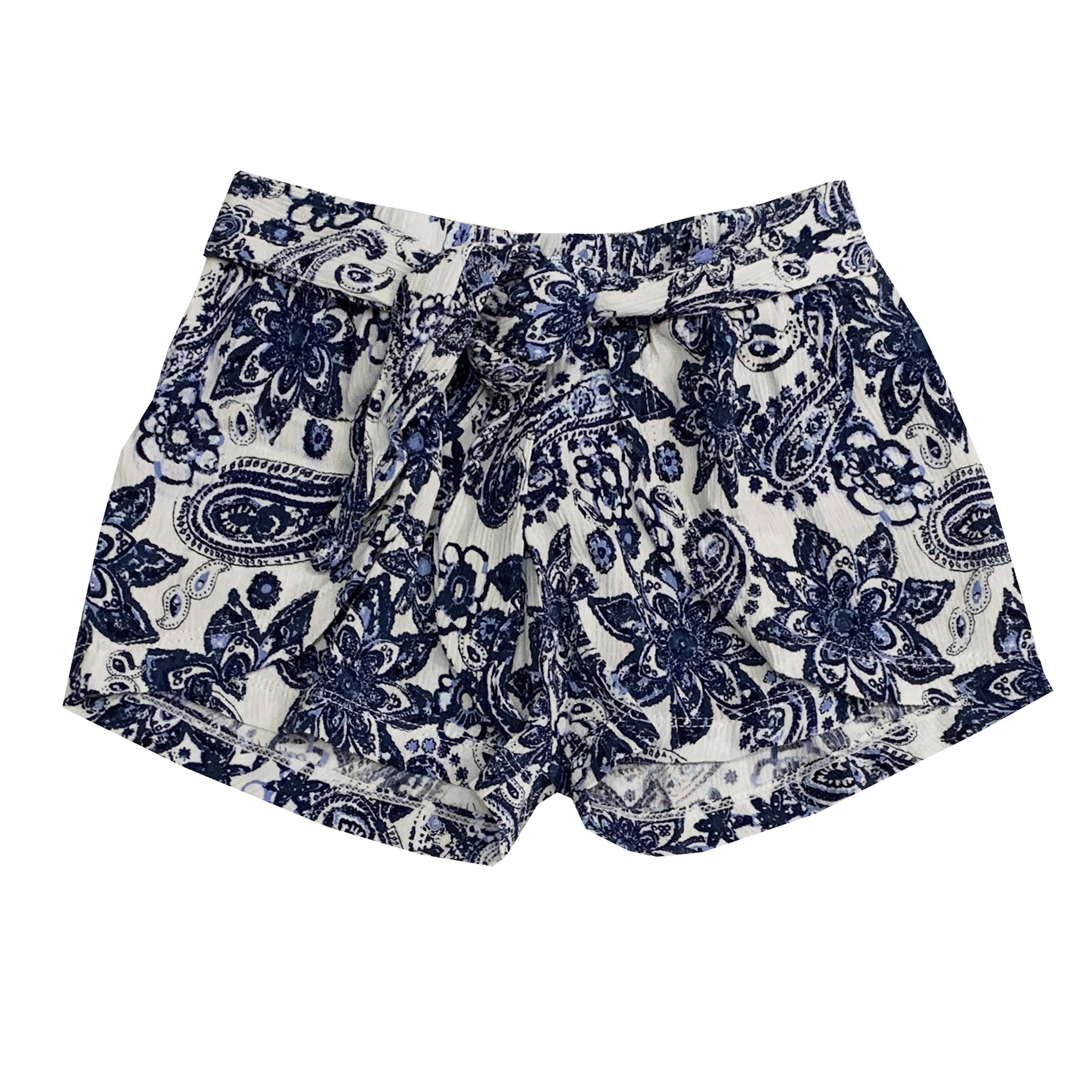 Flowers by Zoe Blue Paisley Tie Front Short