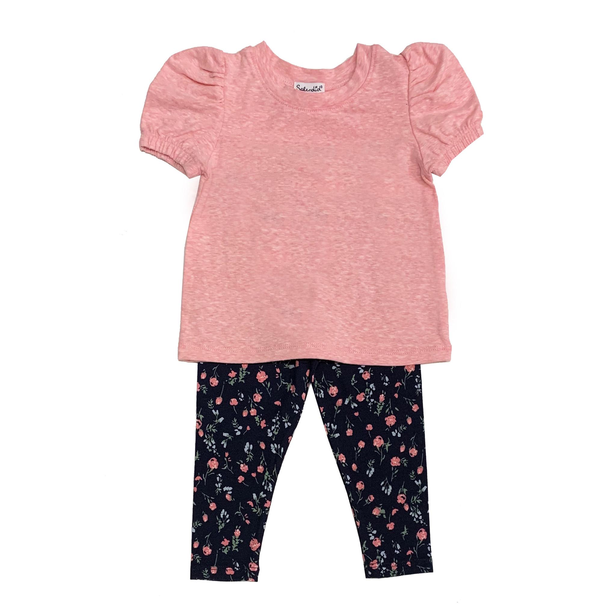 Splendid Pink & Navy Floral Legging Set