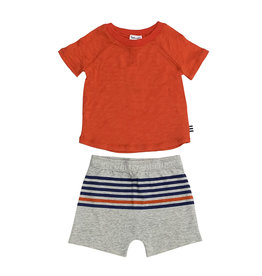 Splendid Orange Tee & Striped Shorts Set