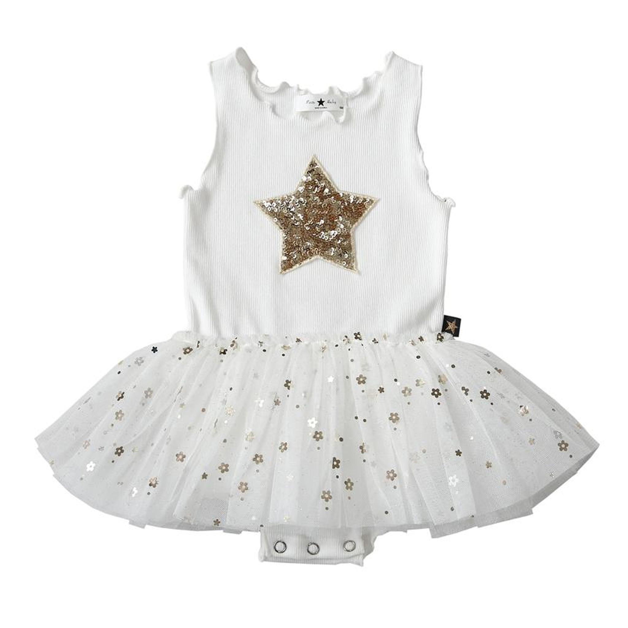 Petit Hailey White Daisy Star Tutu Tank Dress