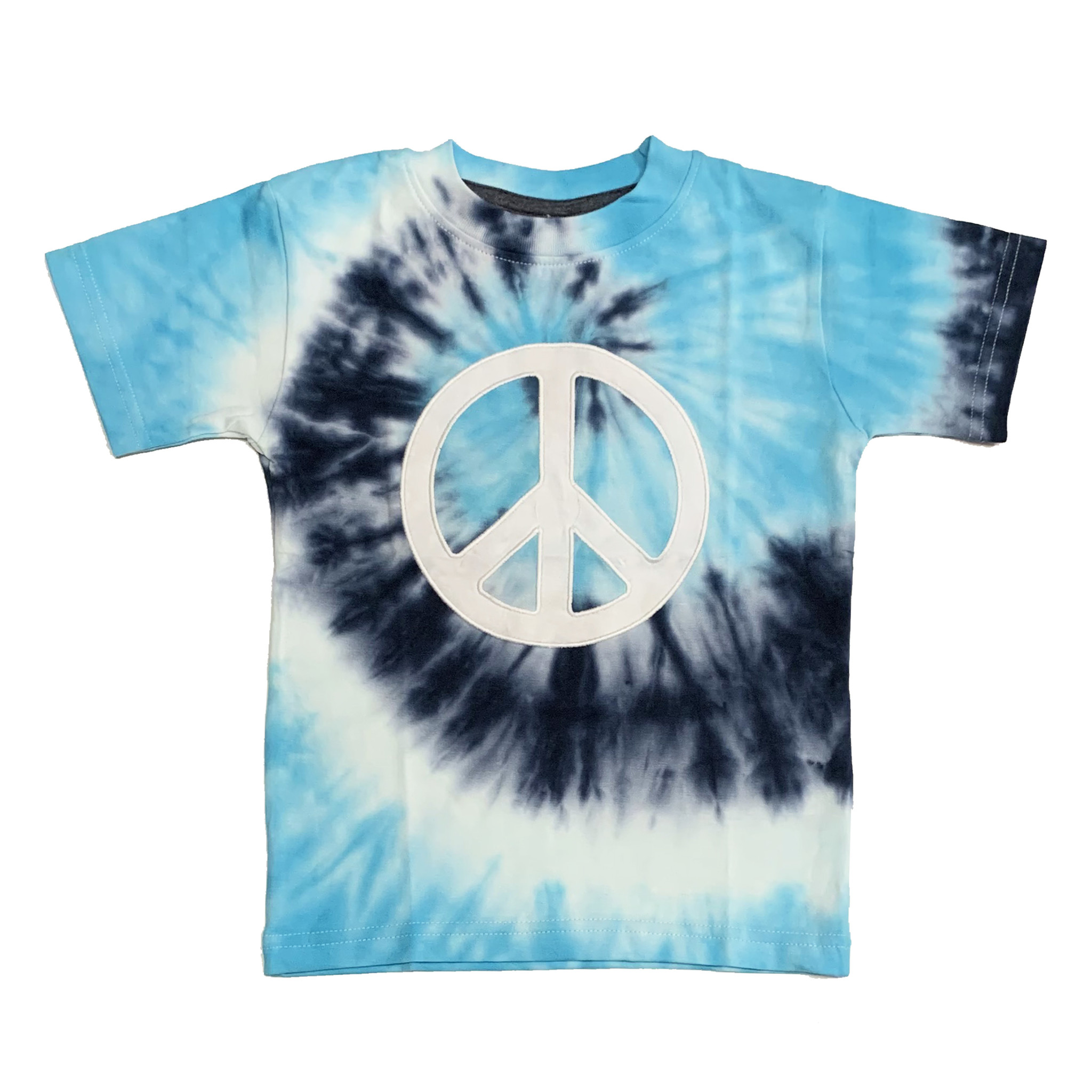 Mish Blue Tie Dye White Peace Tee